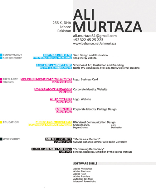 ali murtaza design resume - Graphic Designer Resume Format