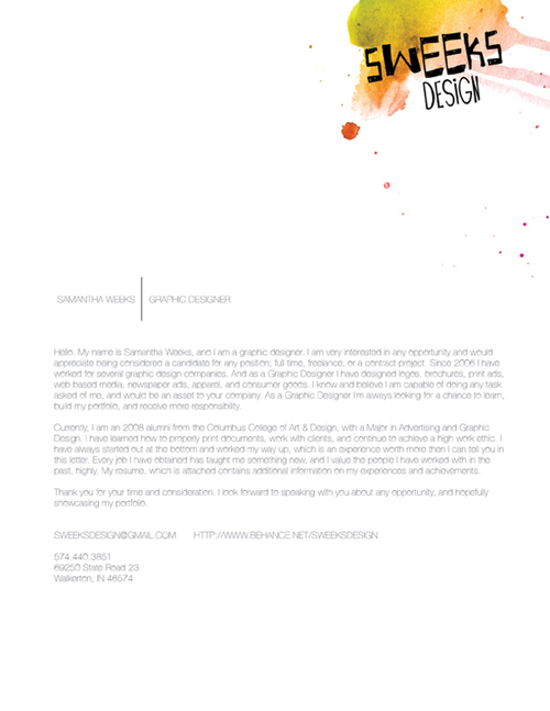 Samantha Weeks Design Resume