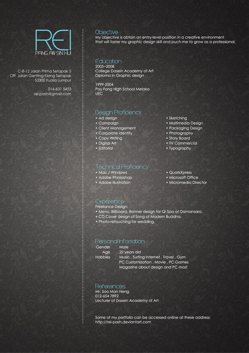 Rei Pash Resume Design