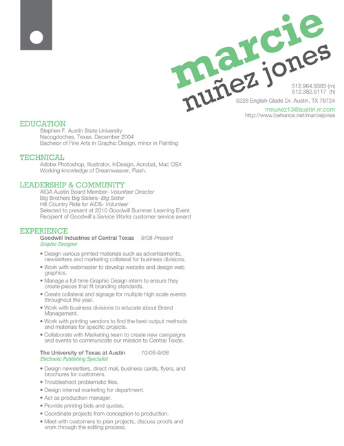 Marcie Jones Design Resume