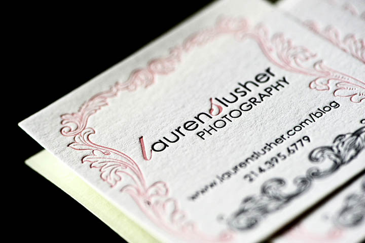 letterpress photography business card