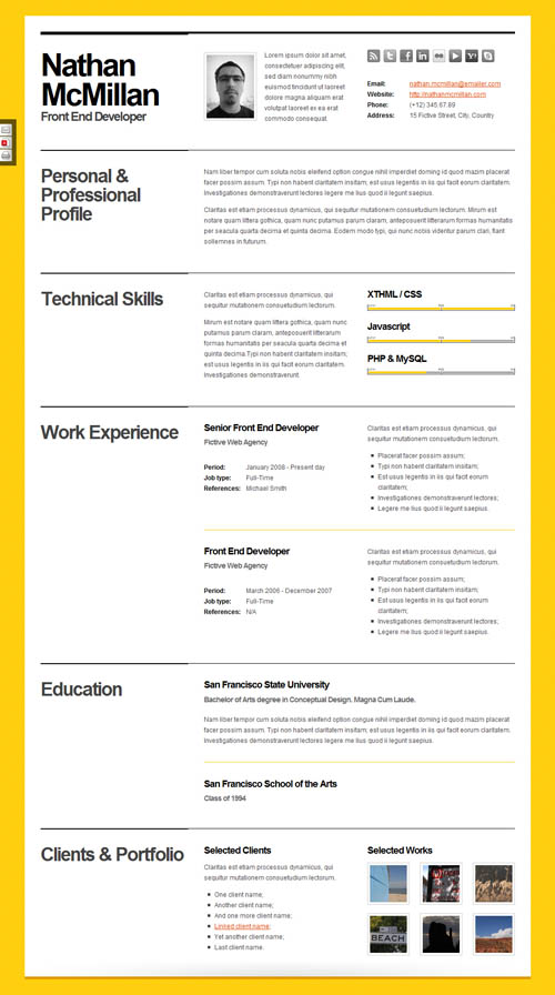 40 Great Html Cv Resume Templates | Template | Idesignow