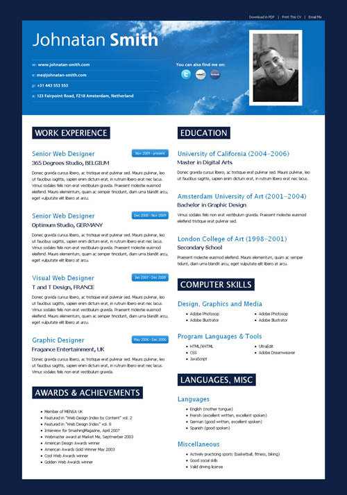 40 Great HTML CV Resume Templates Template
