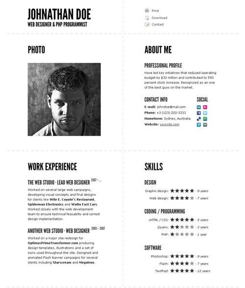 Great Html Cv Resume Templates  Template  Idesignow
