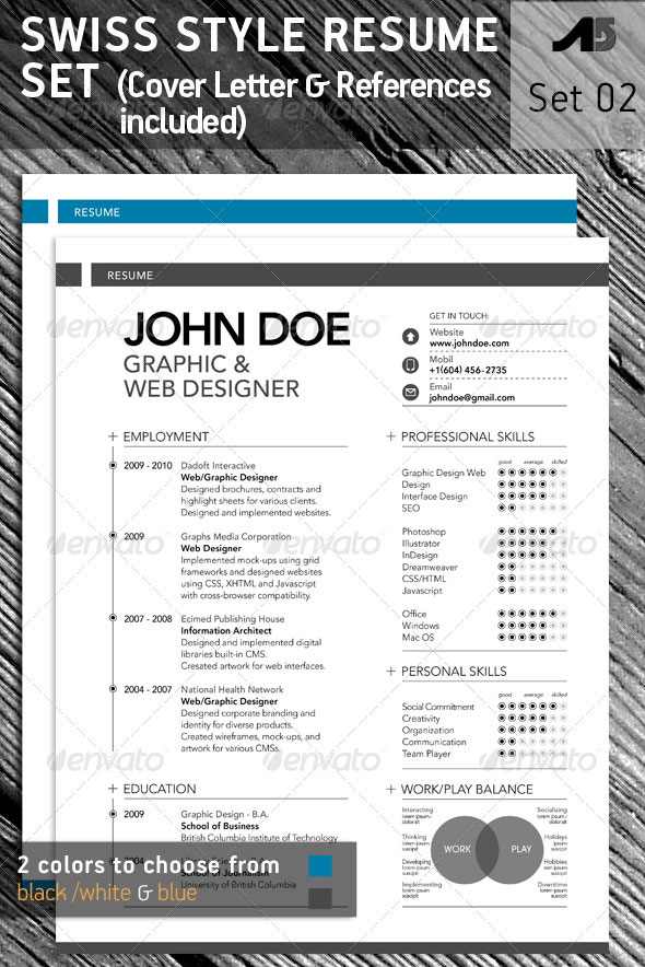 15 photoshop indesign cv resume templates photoshop idesignow. Black Bedroom Furniture Sets. Home Design Ideas