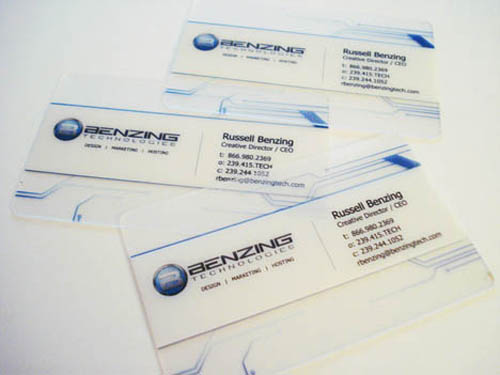 Clear Plastic Benzing Technologies Business Card_6