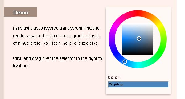 Farbtastic: jQuery color picker plug-in