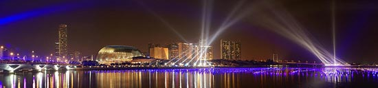 Esplanade Night Panorama, with light show by DanielKHC