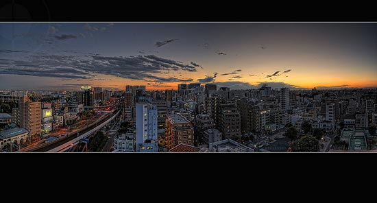 Beautiful autumn sunset from the roof of our flat; Omori, Tokyo by Alfie | Japanorama