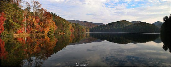 Panoramic Reflections Of Fall by Tommy Simms