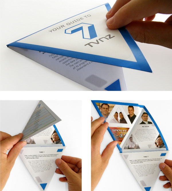 TVNZ 7 u2013 TRIANGULAR FOLDING BROCHURE