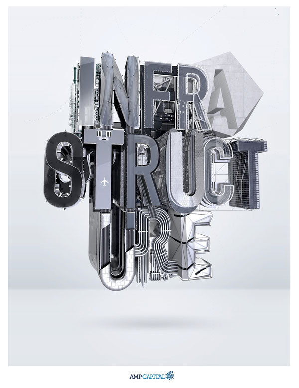3d typography AMP INFRASTRUCTURE