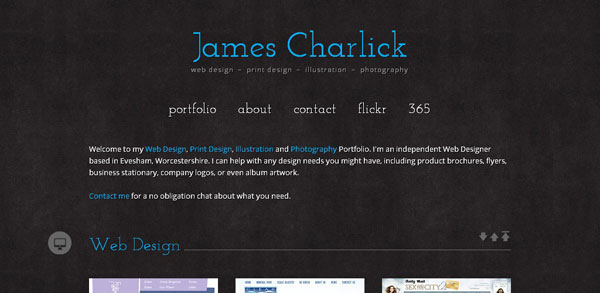 JamesCharlick.com Web Design