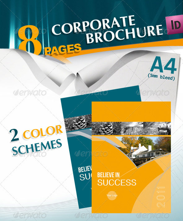 Corporate A4 Brochure in 2 Schemes of Color
