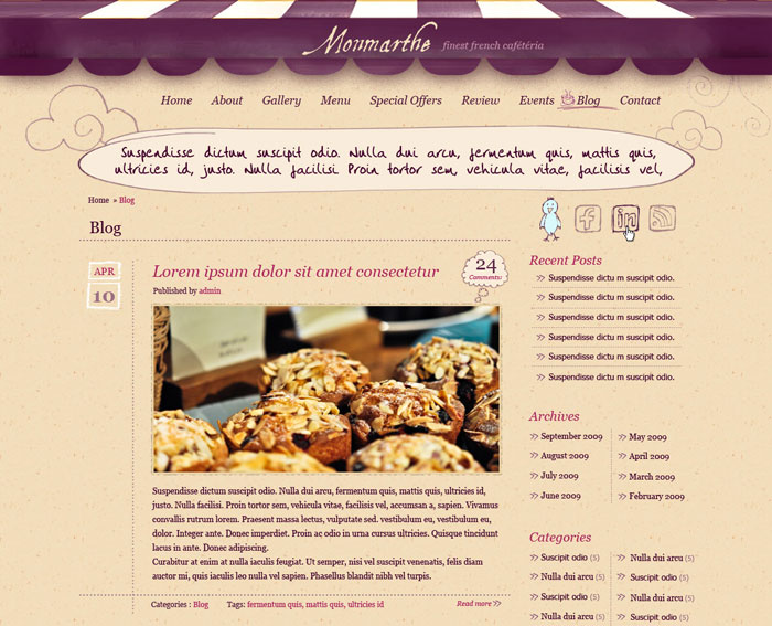 10 beautiful restaurant cafe website templates template cafe 4 forumfinder Choice Image
