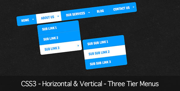 CSS3 - Horizontal & Vertical - Three Tier Menus