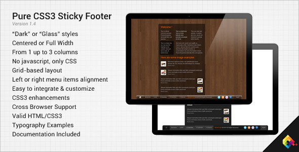 Pure CSS3 Sticky Footer