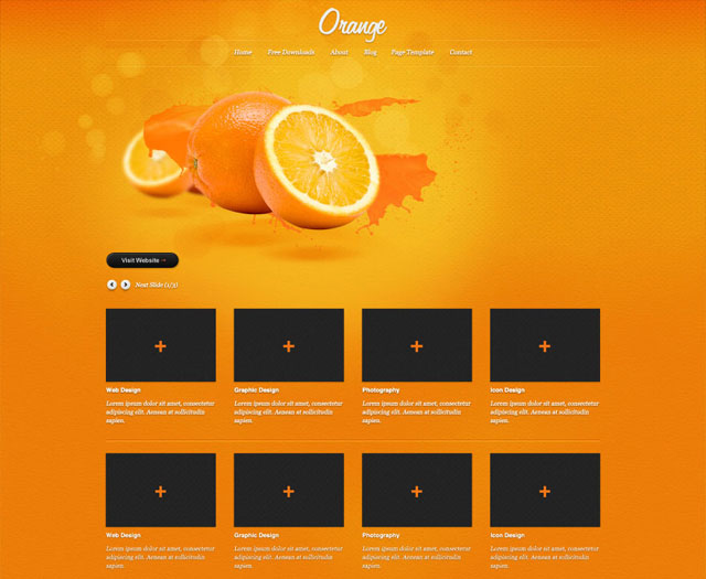 'Orange A free psd website template