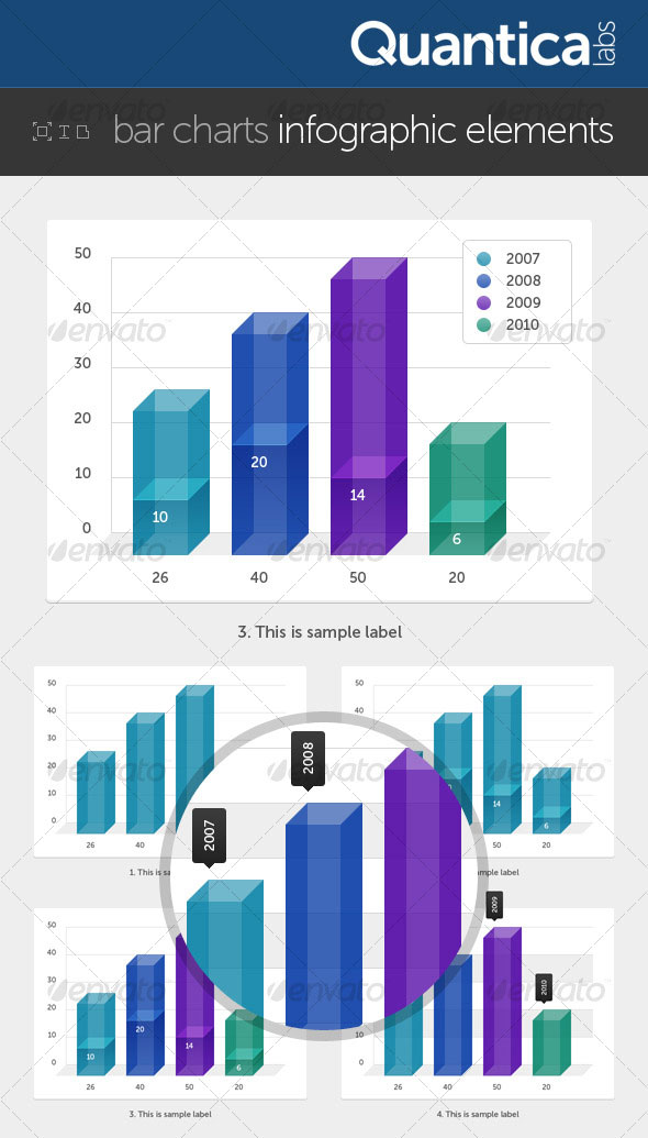 Bar Charts Infographic Elements