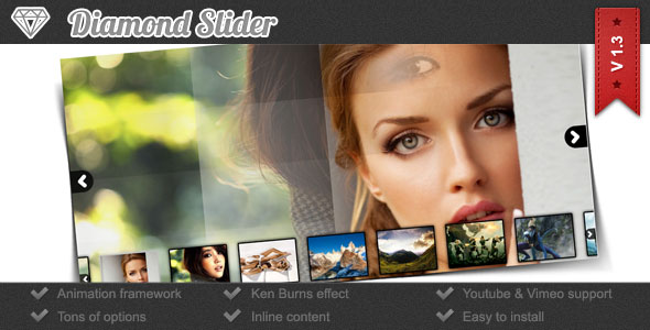 Diamond Slider - Ken Burns Image Slideshow