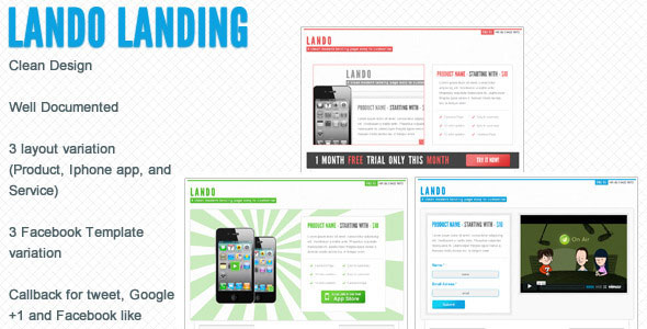 Lando landing page with facebook template
