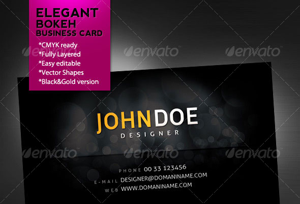 Elegant Bokeh Business Card - Black & Gold