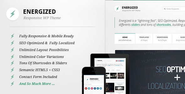 Energized - Responsive WordPress Theme