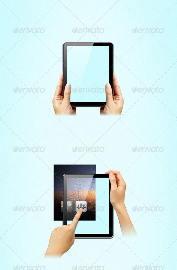 Hands on tablet