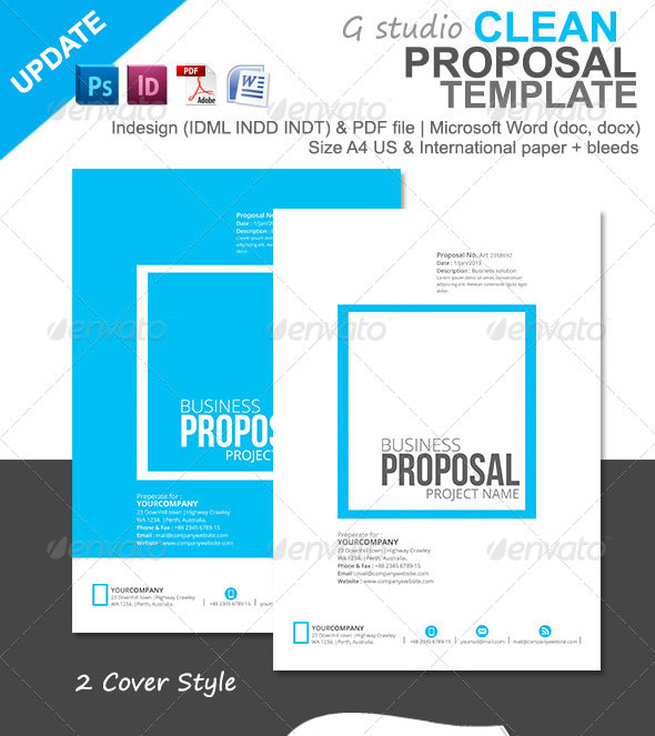 Gstudio Clean Proposal Template  Microsoft Word Proposal Templates
