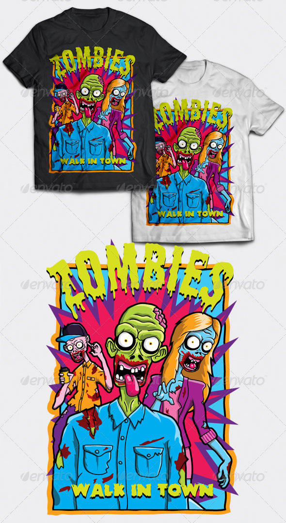 Zombies Walk In Town T-Shirt Design