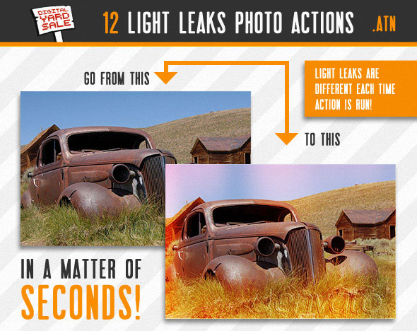 12 Vintage Light Leaks Photo Actions