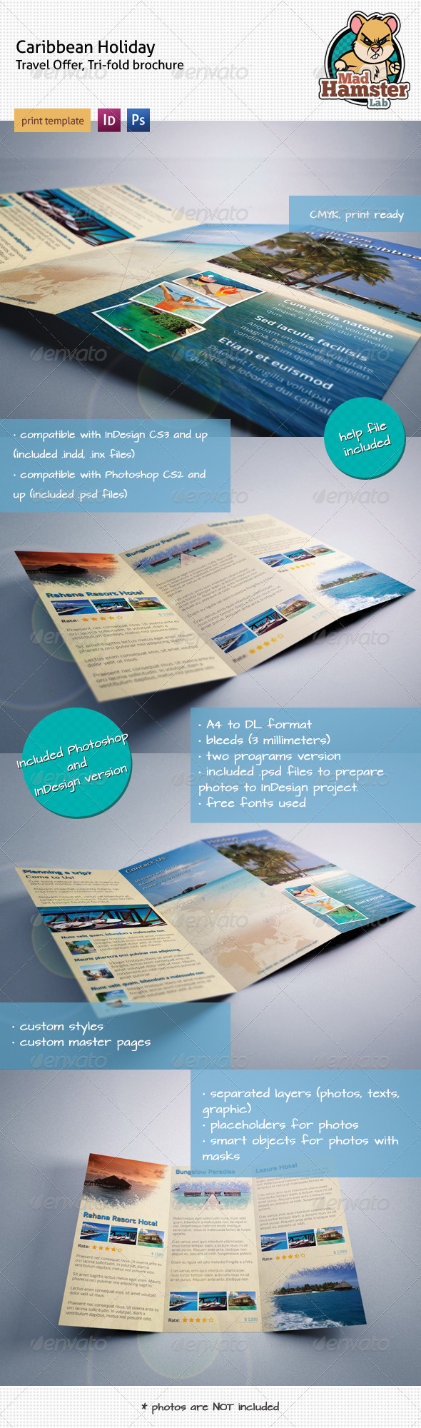 Caribbean Holiday, Travel Offer, Tri-fold Brochure