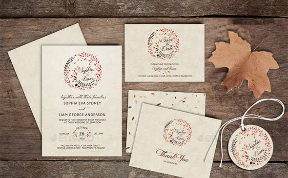 Wedding Invitation Stationery - Autumn/Fall