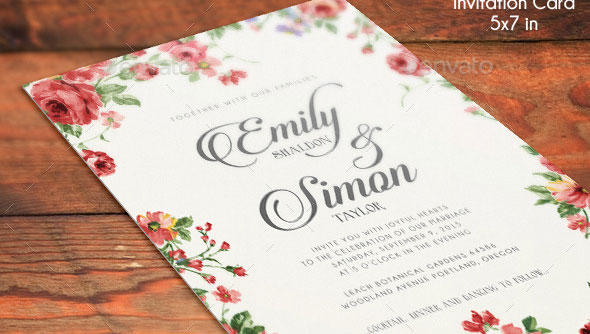 Rustic Floral Wedding Invitations