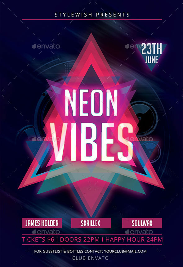 Neon Vibes Flyer + Fb Timeline