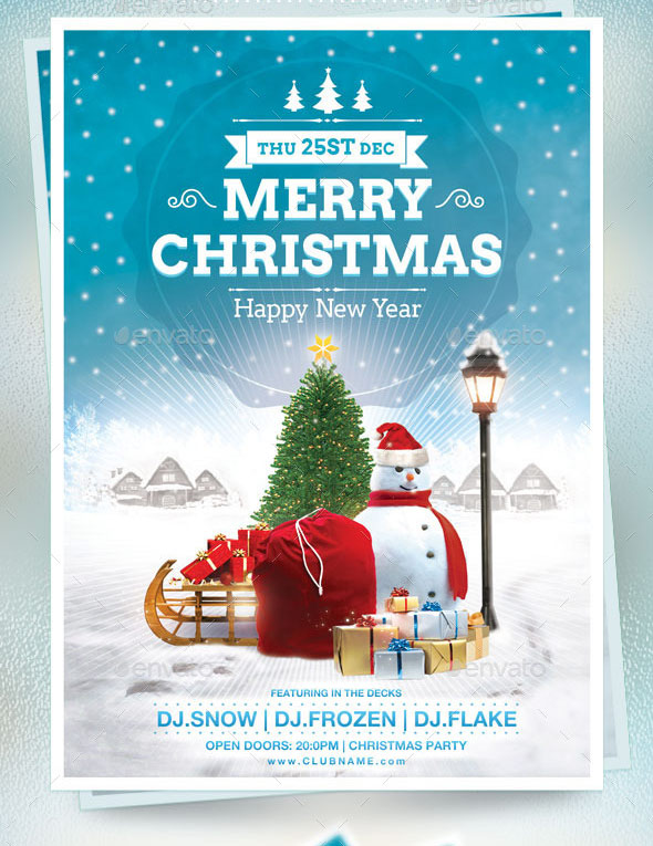 christmas brochure template - festive collection of christmas flyer templates print