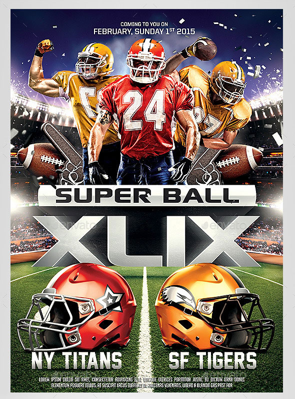 Super Ball Football Party Flyer Template