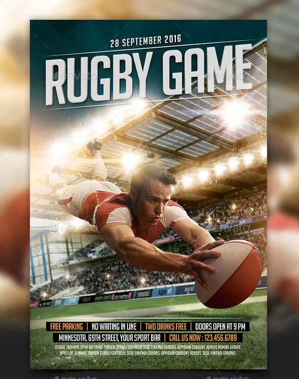 Rugby Game Sport Flyer Template