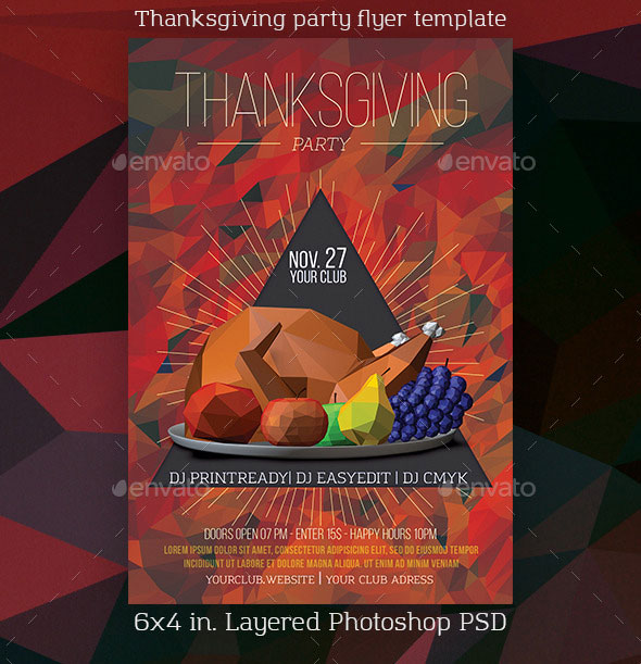 Lowpoly Thanksgiving Party Flyer