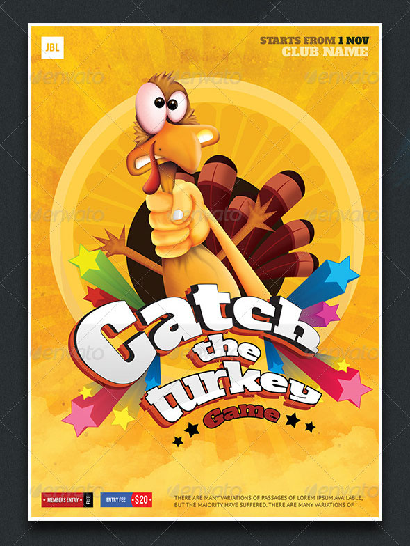 Thanksgiving Catch the Turkey Game Poster