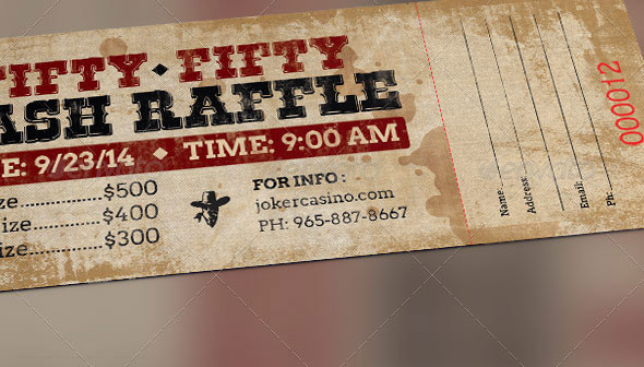 Western Style 50/50 Raffle Ticket Template