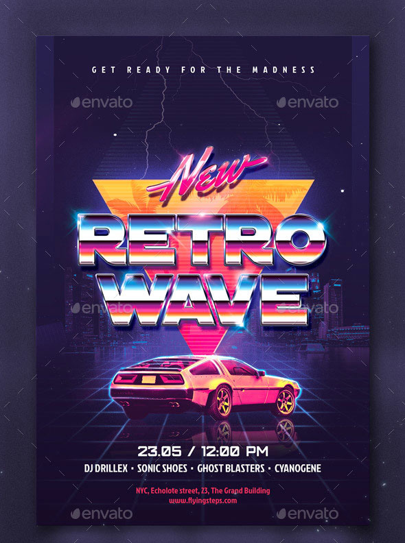 80`s New Retro Wave Party flyer