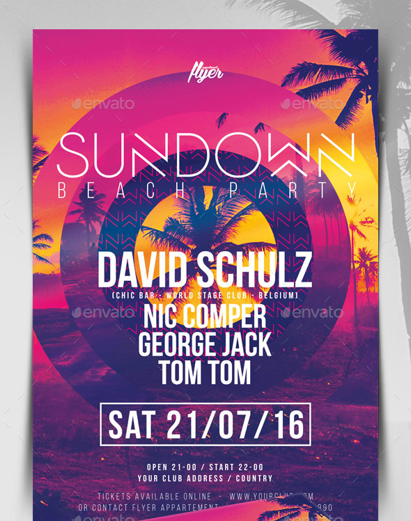 Sundown Beach Party Flyer