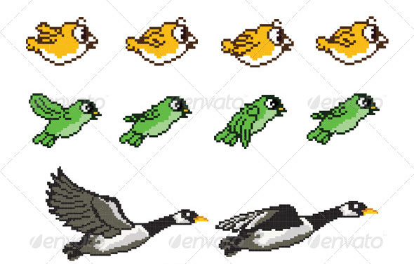 Flying Bird Game Character Pixel Art Sprite