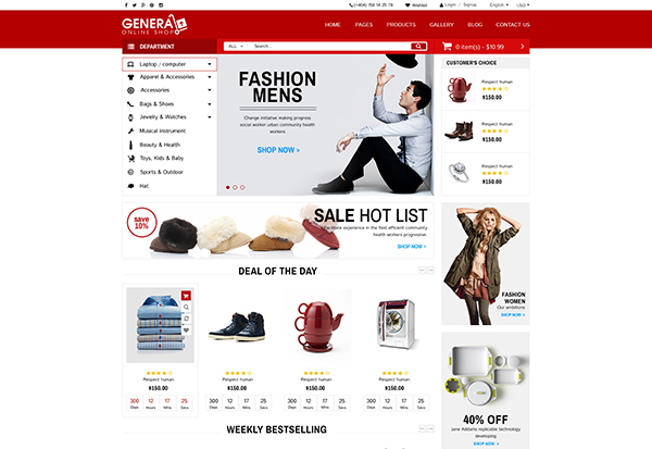WooCommerce Responsive Premium Theme | WP General Mart eCommerce Websites