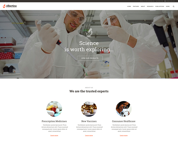 Albertino - Science Research & Technology WP Theme