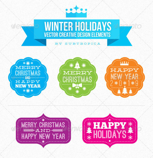 Winter Holidays Vector Creative Design Elements