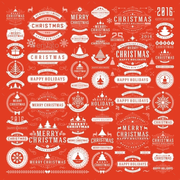 Christmas Decorations Design Elements