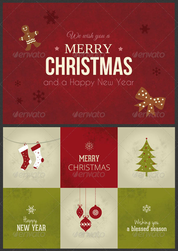 10 Christmas Cards PSD