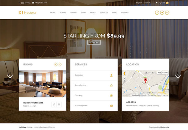 Holiday - Hotel WordPress Theme